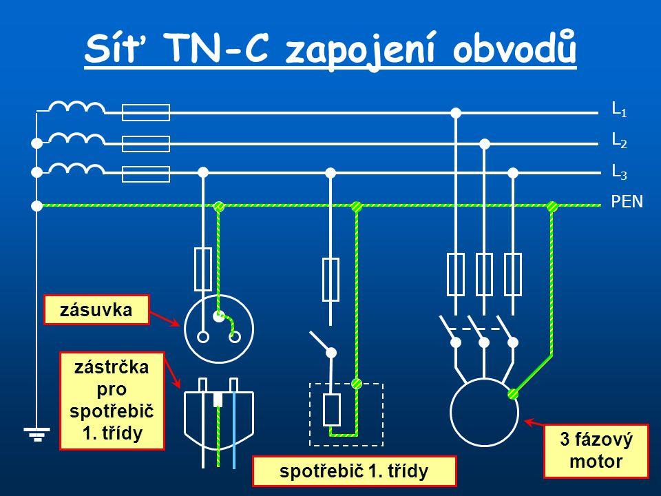 Síť TN-C zapojení obvodů L1L1 PEN L3L3 L2L2 zásuvka zástrčka pro spotřebič 1. třídy spotřebič 1. třídy 3 fázový motor
