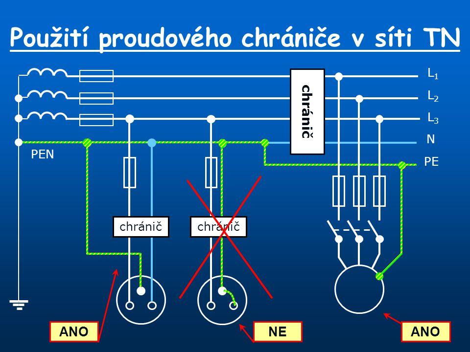 Použití proudového chrániče v síti TN L1L1 N L3L3 L2L2 PE PEN chránič ANO NE chránič