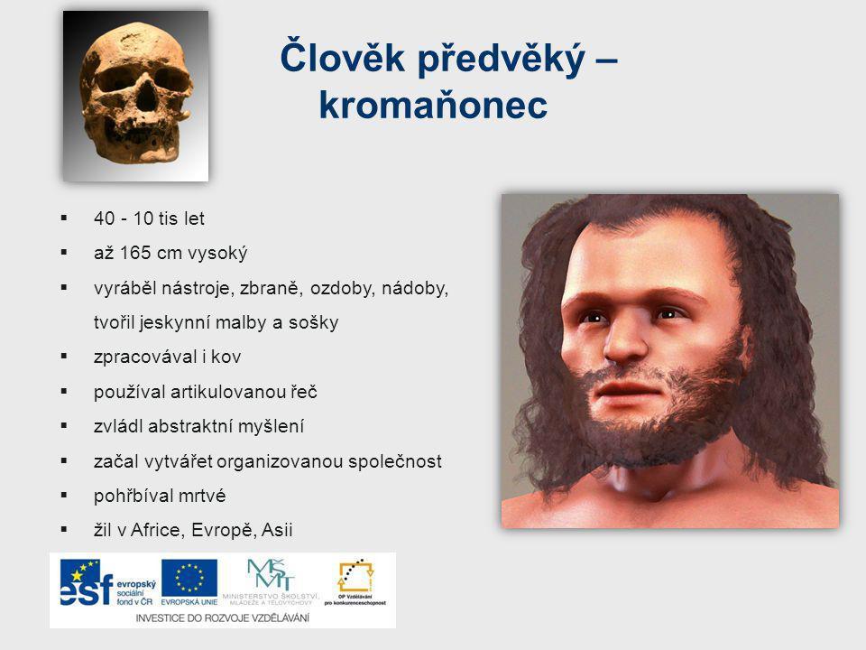 Člověk předvěký – kromaňonec  40 - 10 tis let  až 165 cm vysoký  vyráběl nástroje, zbraně, ozdoby, nádoby, tvořil jeskynní malby a sošky  zpracovával i kov  používal artikulovanou řeč  zvládl abstraktní myšlení  začal vytvářet organizovanou společnost  pohřbíval mrtvé  žil v Africe, Evropě, Asii
