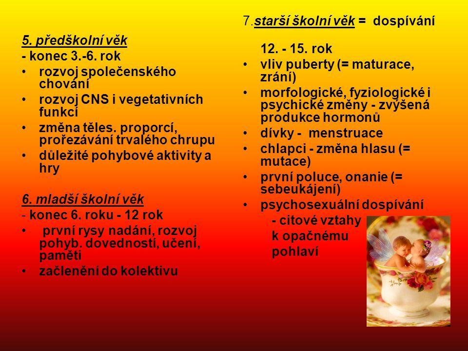3. kojenecké období - do konce 1. roku 75 cm, 10 kg potrava - mateř. mléko, Sunar od 4. měsíce přidání rozmix. vybraných potravin intenzivní růst, psy