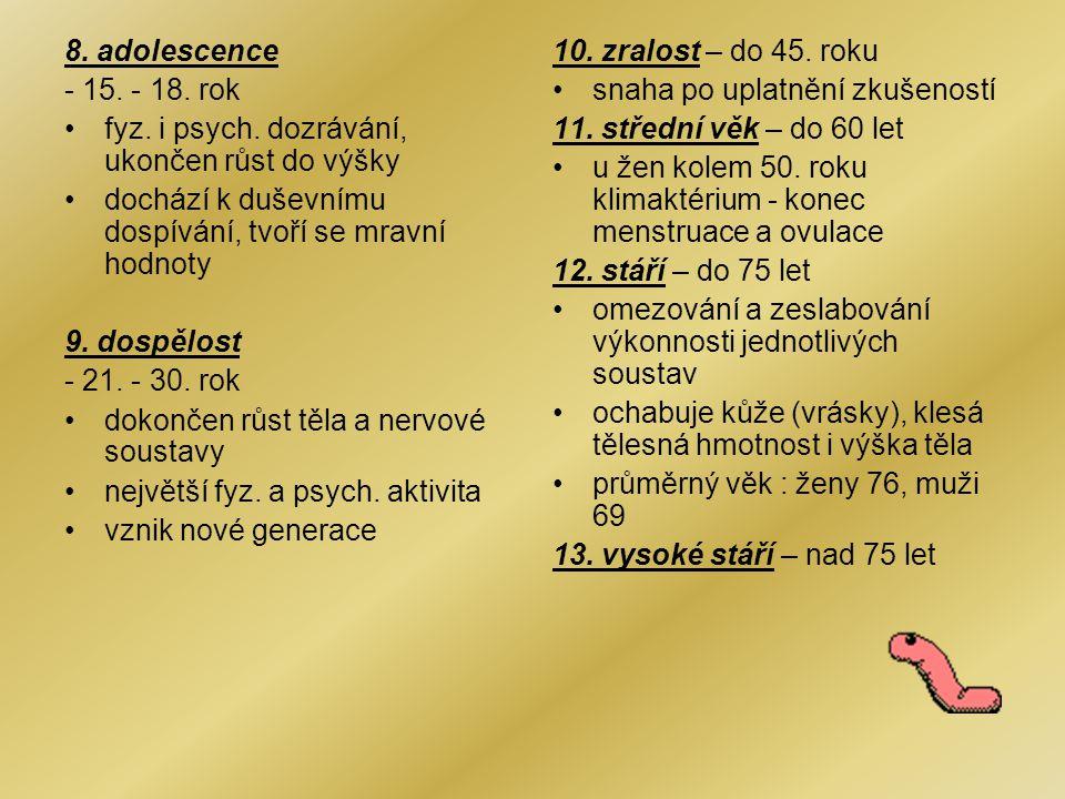 8.adolescence - 15. - 18. rok fyz. i psych.