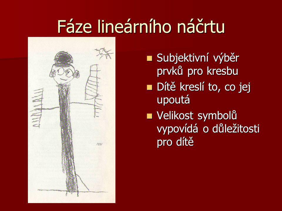 Fáze lineárního náčrtu Subjektivní výběr prvků pro kresbu Subjektivní výběr prvků pro kresbu Dítě kreslí to, co jej upoutá Dítě kreslí to, co jej upou