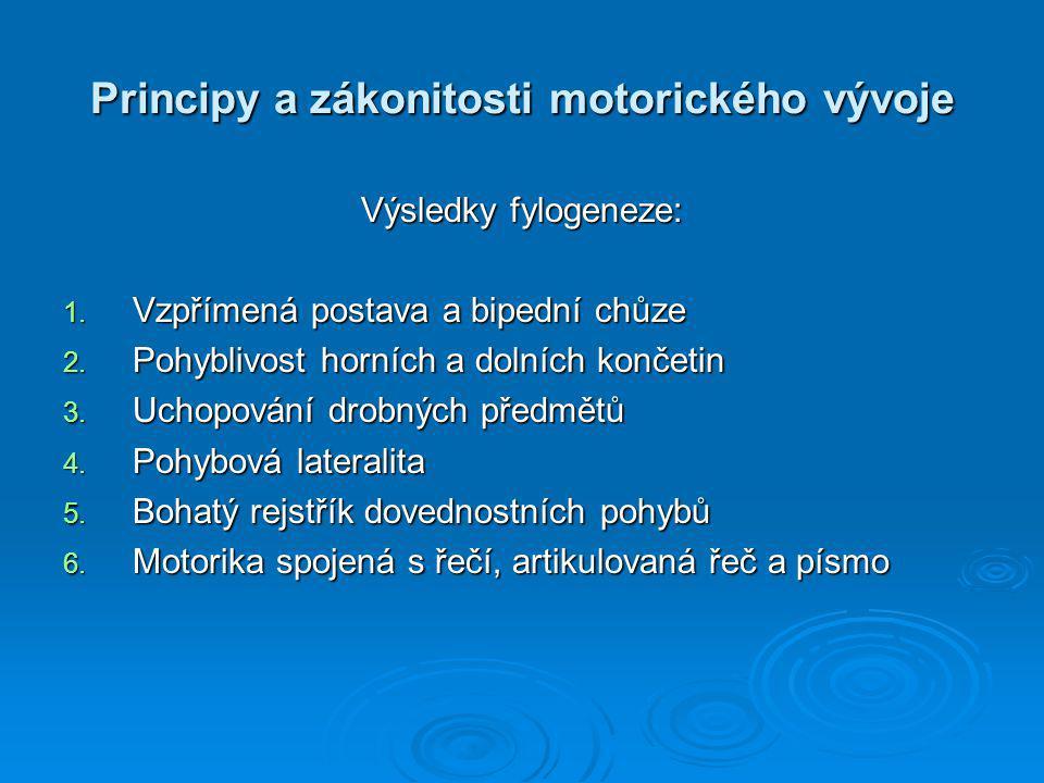 Principy a zákonitosti motorického vývoje Výsledky fylogeneze: 1.