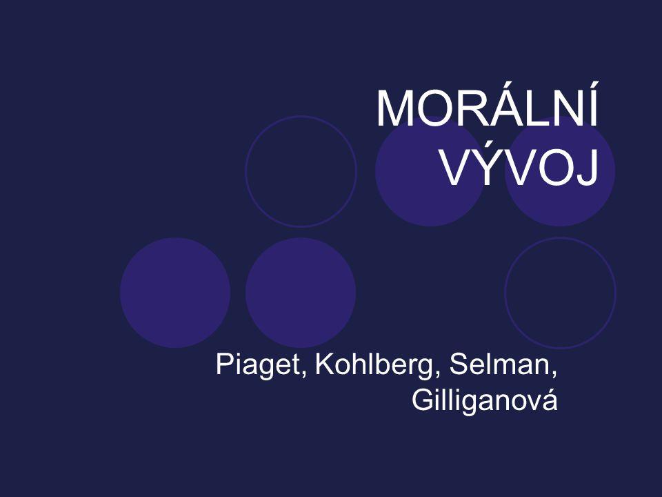 MORÁLNÍ VÝVOJ Piaget, Kohlberg, Selman, Gilliganová