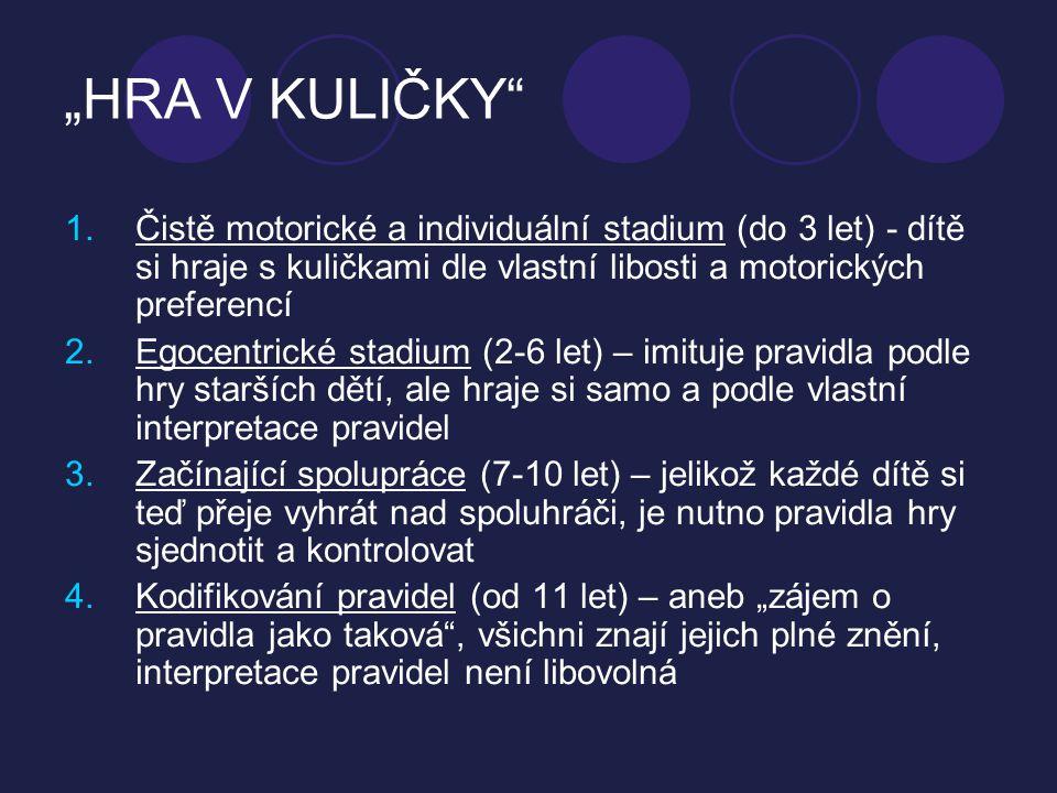 """""""HRA V KULIČKY"""" 1.Čistě motorické a individuální stadium (do 3 let) - dítě si hraje s kuličkami dle vlastní libosti a motorických preferencí 2.Egocent"""