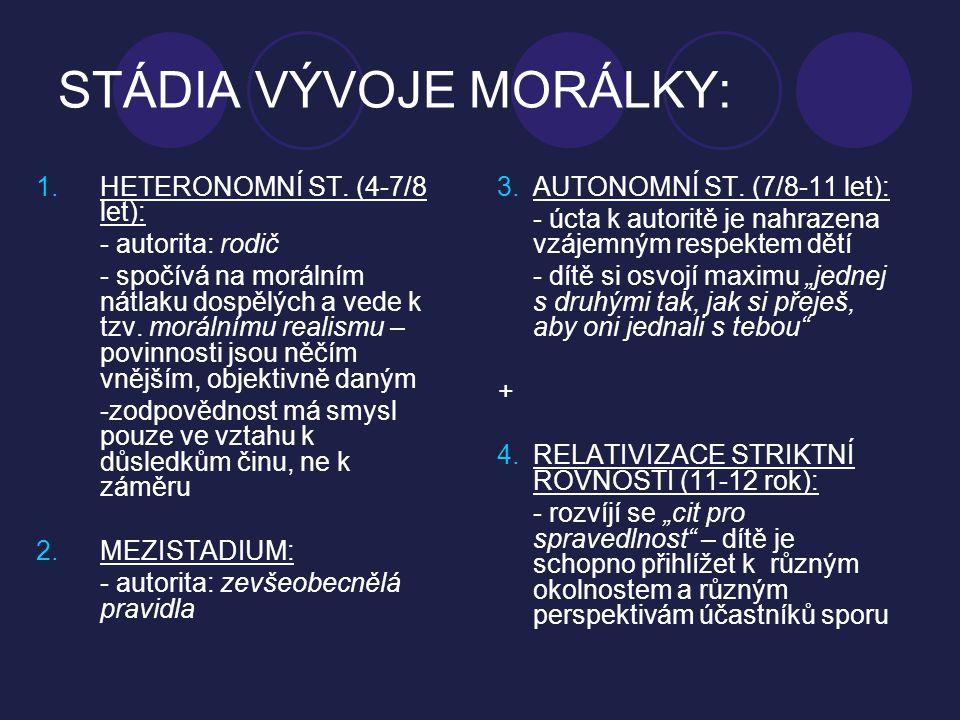 STÁDIA VÝVOJE MORÁLKY: 1.HETERONOMNÍ ST. (4-7/8 let): - autorita: rodič - spočívá na morálním nátlaku dospělých a vede k tzv. morálnímu realismu – pov