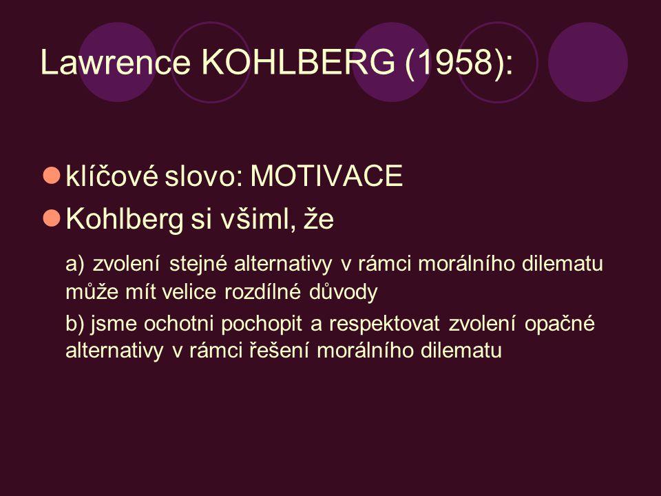 Lawrence KOHLBERG (1958): klíčové slovo: MOTIVACE Kohlberg si všiml, že a) zvolení stejné alternativy v rámci morálního dilematu může mít velice rozdí