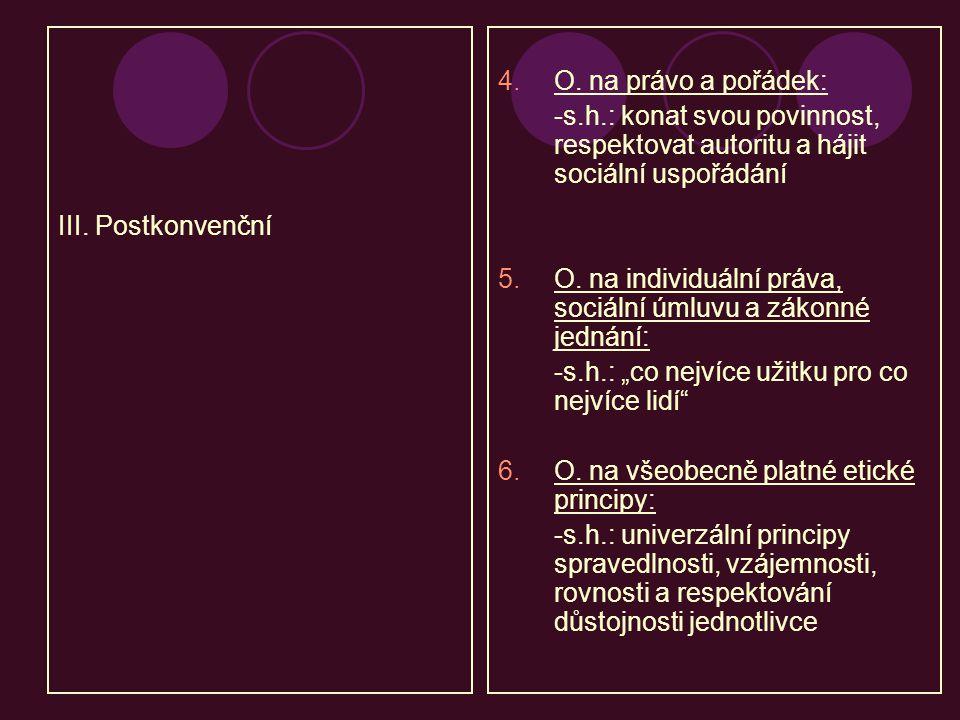 III. Postkonvenční 4.O. na právo a pořádek: -s.h.: konat svou povinnost, respektovat autoritu a hájit sociální uspořádání 5.O. na individuální práva,