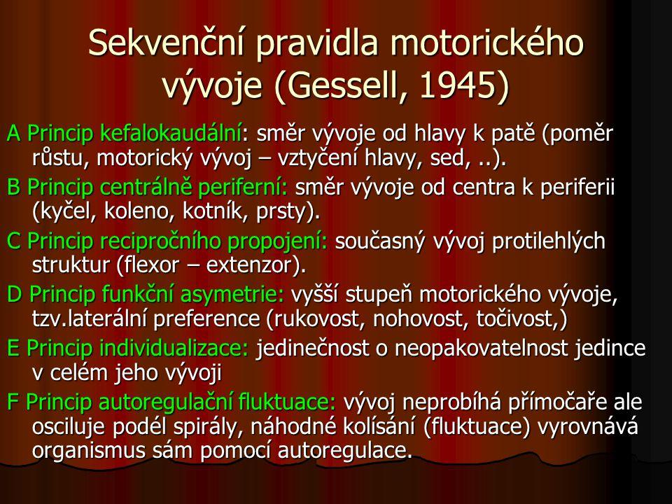 Sekvenční pravidla motorického vývoje (Gessell, 1945) A Princip kefalokaudální: směr vývoje od hlavy k patě (poměr růstu, motorický vývoj – vztyčení h
