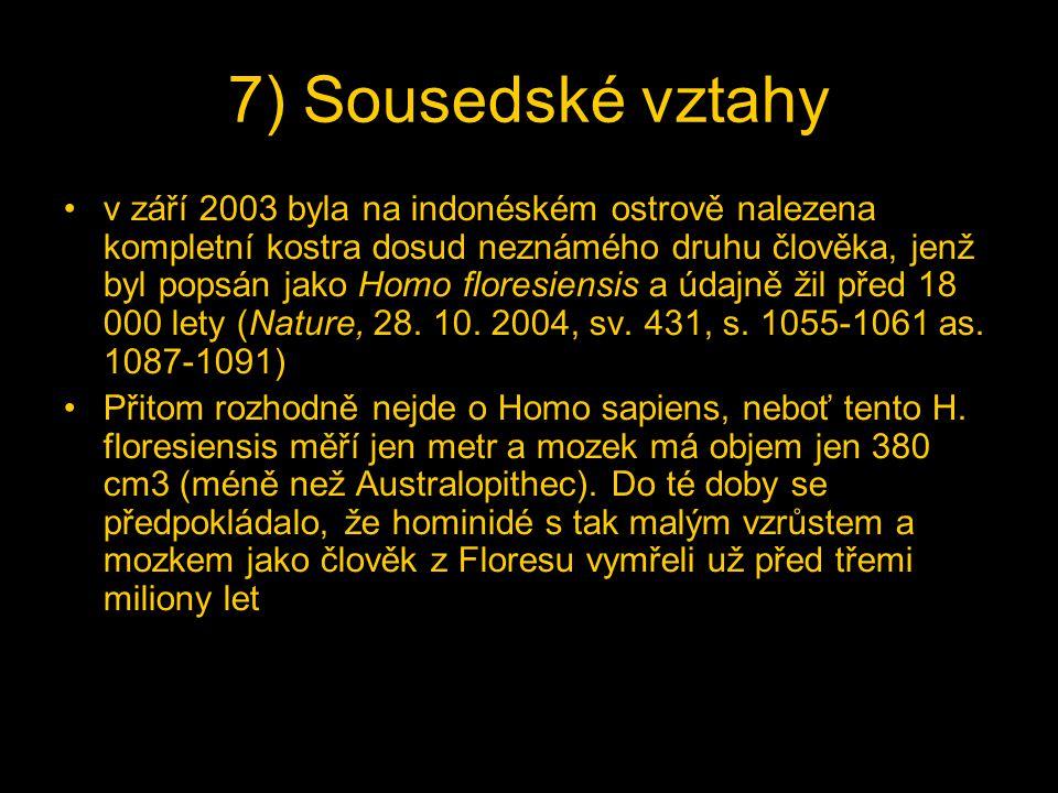 7) Sousedské vztahy v září 2003 byla na indonéském ostrově nalezena kompletní kostra dosud neznámého druhu člověka, jenž byl popsán jako Homo floresiensis a údajně žil před 18 000 lety (Nature, 28.
