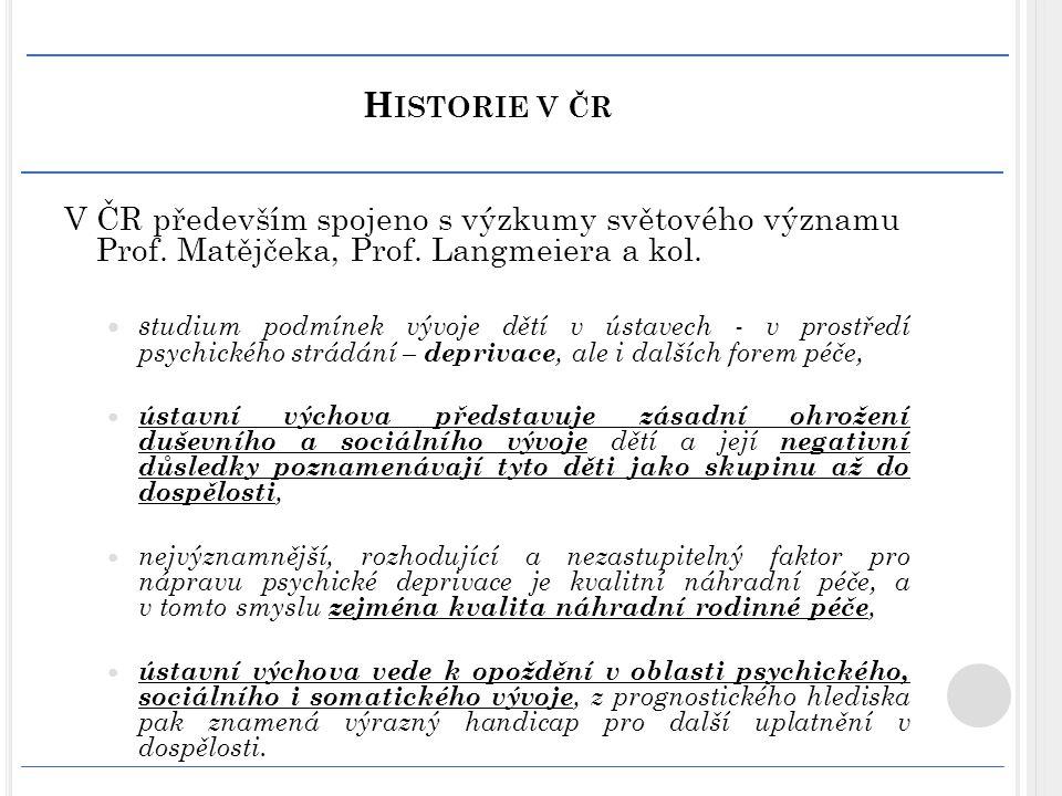 H ISTORIE V ČR V ČR především spojeno s výzkumy světového významu Prof. Matějčeka, Prof. Langmeiera a kol. s tudium podmínek vývoje dětí v ústavech -