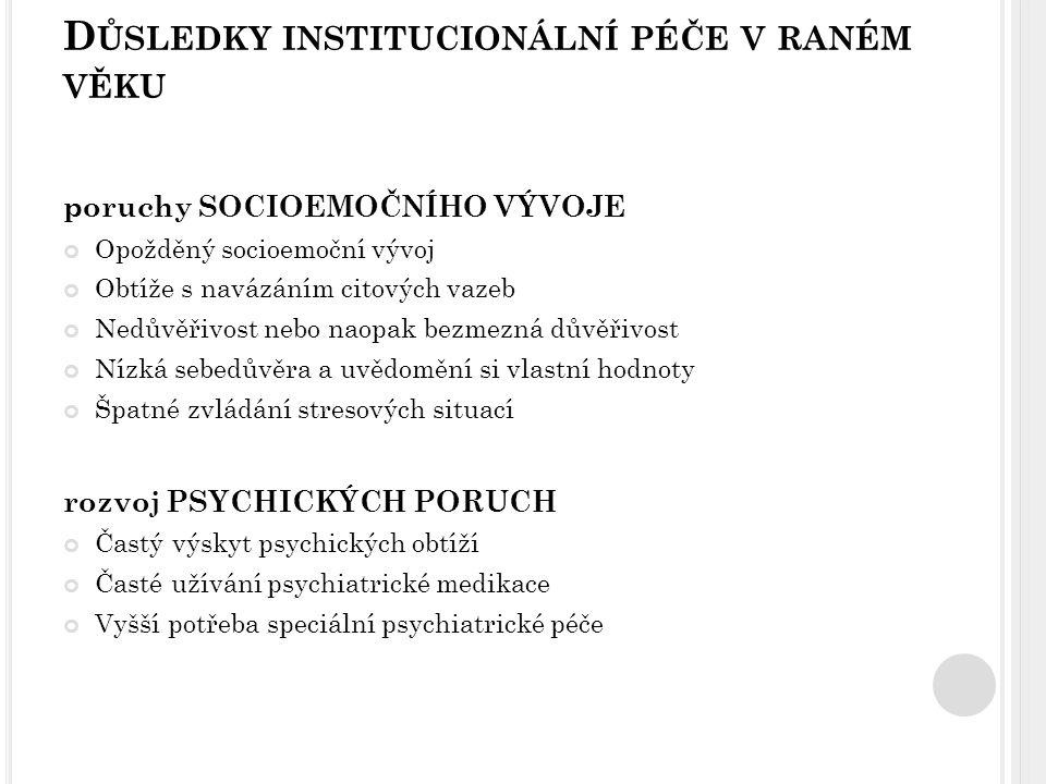 Psychiatrické poruchy Závislosti Poruchy emocí Poruchy chování Úzkostné poruchy Problémy v sociální oblasti Sociální integrace Partnerské problémy Nezaměstnanost Kriminalita ÚSTAVNÍ VÝCHOVA NEGATIVNÍ PROGNÓZA ÚSPĚŠNÉHO SOCIÁLNÍHO UPLATNĚNÍ A OSOBNÍHO VÝVOJE Z AHRANIČNÍ STUDIE – DŮSLEDKY ÚSTAVNÍ PÉČE ZÁTĚŽ PRO SOCIÁLNÍ A ZDRAVOTNÍ SYSTÉM + MODEL SOCIÁLNÍ DĚDIČNOSTI