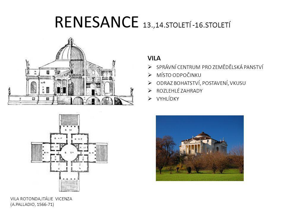 RENESANCE 13.,14.STOLETÍ -16.STOLETÍ VILA  SPRÁVNÍ CENTRUM PRO ZEMĚDĚLSKÁ PANSTVÍ  MÍSTO ODPOČINKU  ODRAZ BOHATSTVÍ, POSTAVENÍ, VKUSU  ROZLEHLÉ ZAHRADY  VYHLÍDKY VILA ROTONDA,ITÁLIE VICENZA (A.PALLADIO, 1566-71)