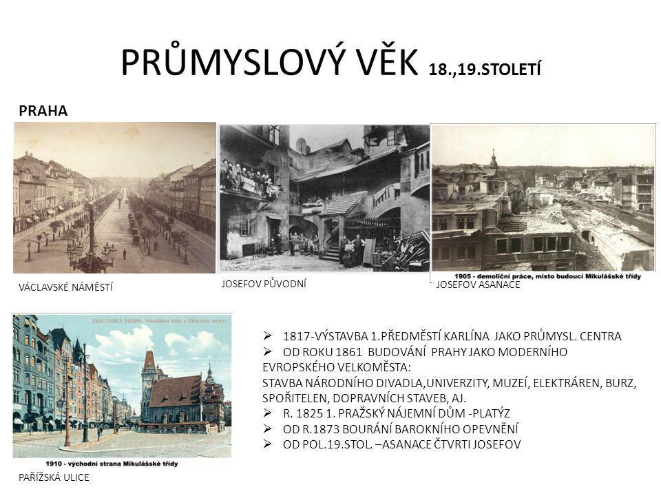 PRŮMYSLOVÝ VĚK 18.,19.STOLETÍ PRAHA VÁCLAVSKÉ NÁMĚSTÍ  1817-VÝSTAVBA 1.PŘEDMĚSTÍ KARLÍNA JAKO PRŮMYSL.