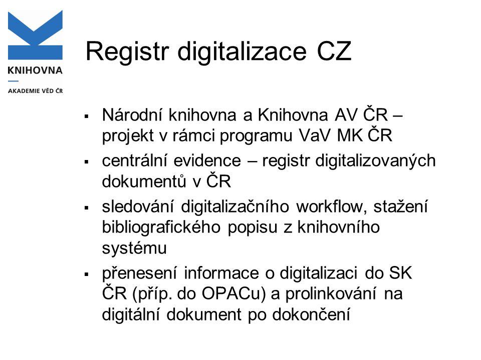 Registr digitalizace CZ  Národní knihovna a Knihovna AV ČR – projekt v rámci programu VaV MK ČR  centrální evidence – registr digitalizovaných dokum