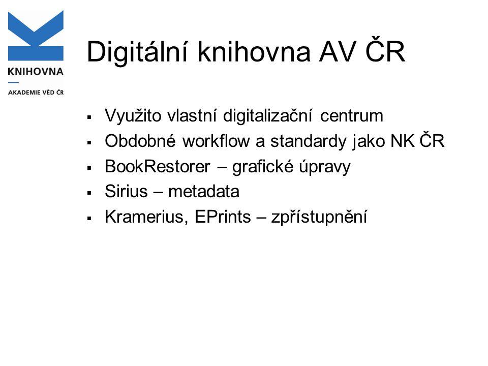 Digitální knihovna AV ČR  Využito vlastní digitalizační centrum  Obdobné workflow a standardy jako NK ČR  BookRestorer – grafické úpravy  Sirius –