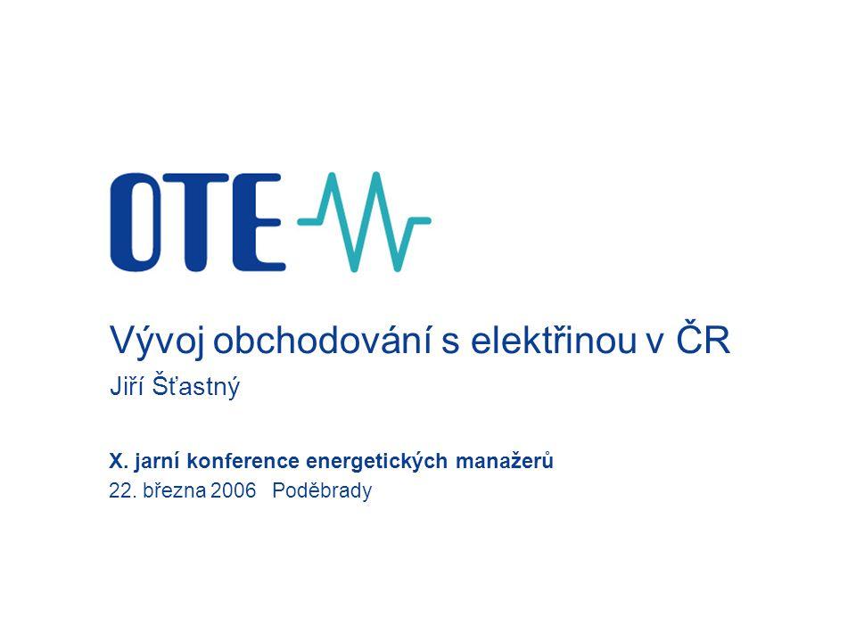 Vývoj obchodování s elektřinou v ČR Jiří Šťastný X.