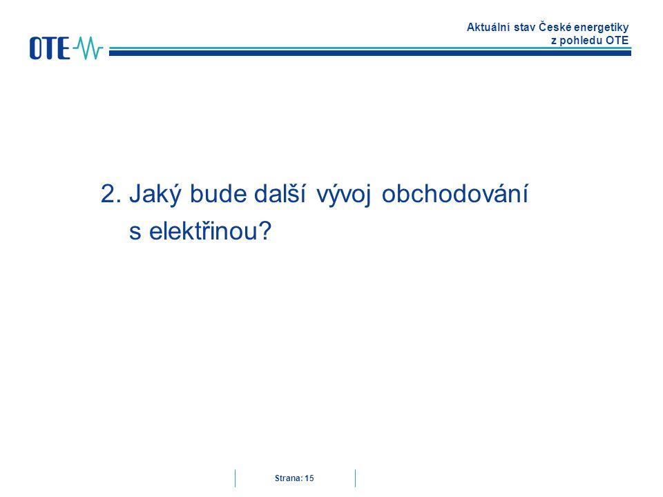 Aktuální stav České energetiky z pohledu OTE Strana: 15 2.