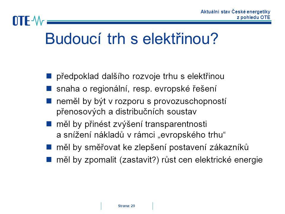 Aktuální stav České energetiky z pohledu OTE Strana: 29 Budoucí trh s elektřinou.