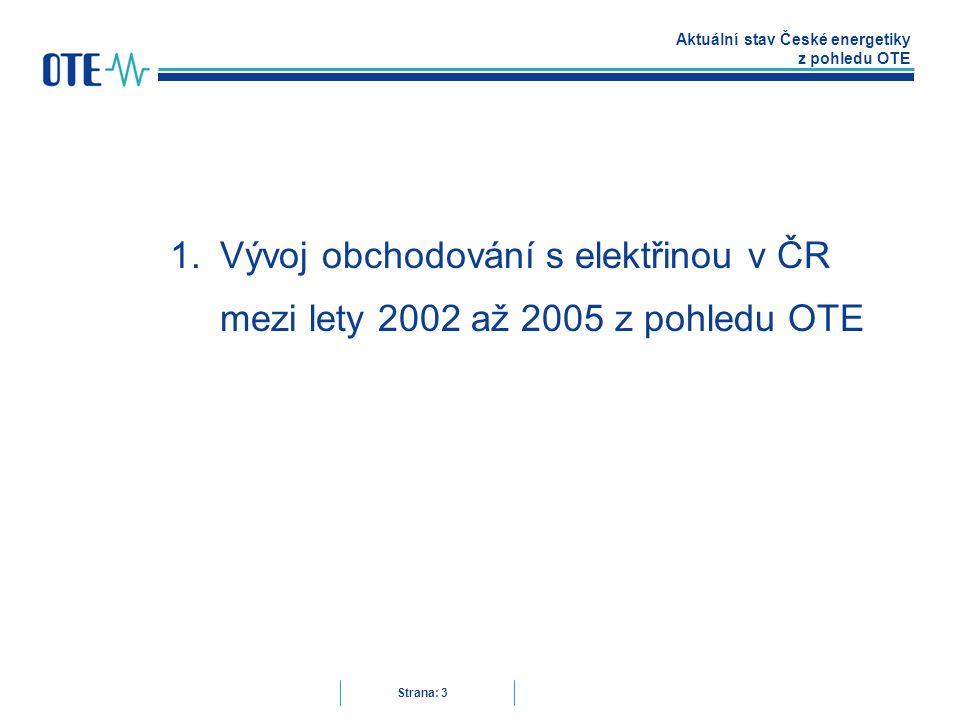 Aktuální stav České energetiky z pohledu OTE Strana: 3 1.Vývoj obchodování s elektřinou v ČR mezi lety 2002 až 2005 z pohledu OTE