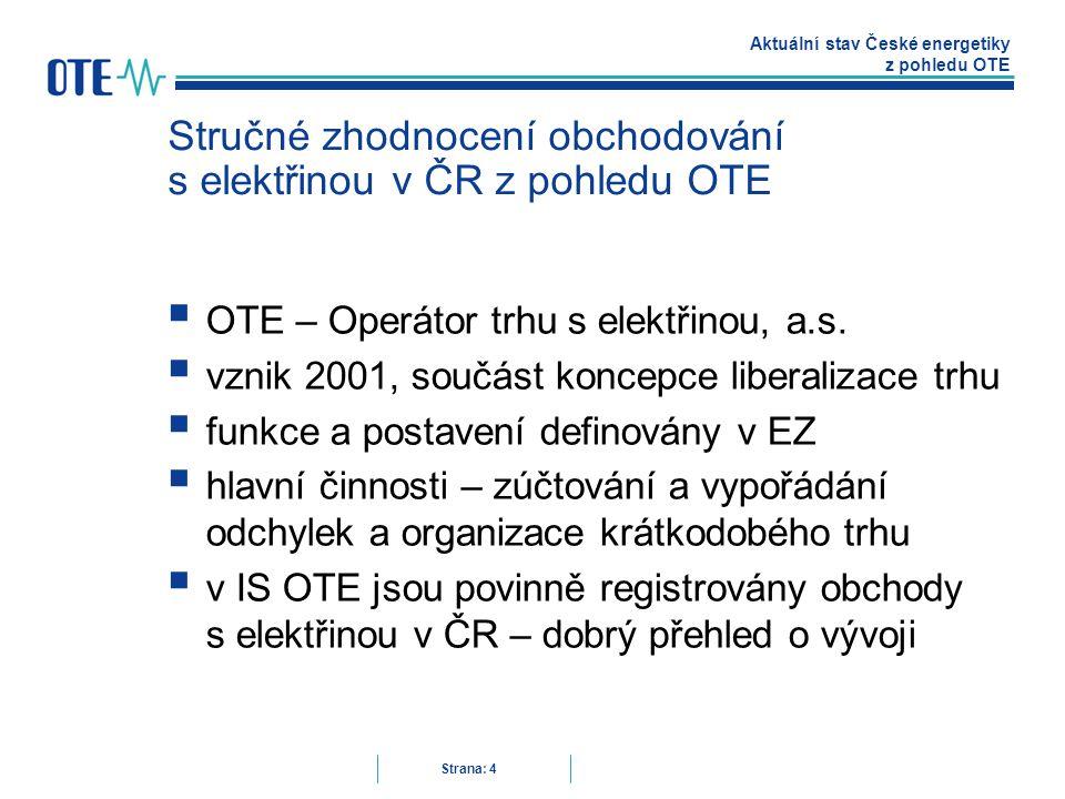 Aktuální stav České energetiky z pohledu OTE Strana: 4 Stručné zhodnocení obchodování s elektřinou v ČR z pohledu OTE  OTE – Operátor trhu s elektřinou, a.s.
