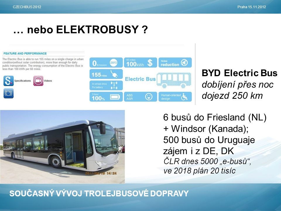 SOUČASNÝ VÝVOJ TROLEJBUSOVÉ DOPRAVY … nebo ELEKTROBUSY ? CZECHBUS 2012Praha 15.11.2012 BYD Electric Bus dobíjení přes noc dojezd 250 km 6 busů do Frie