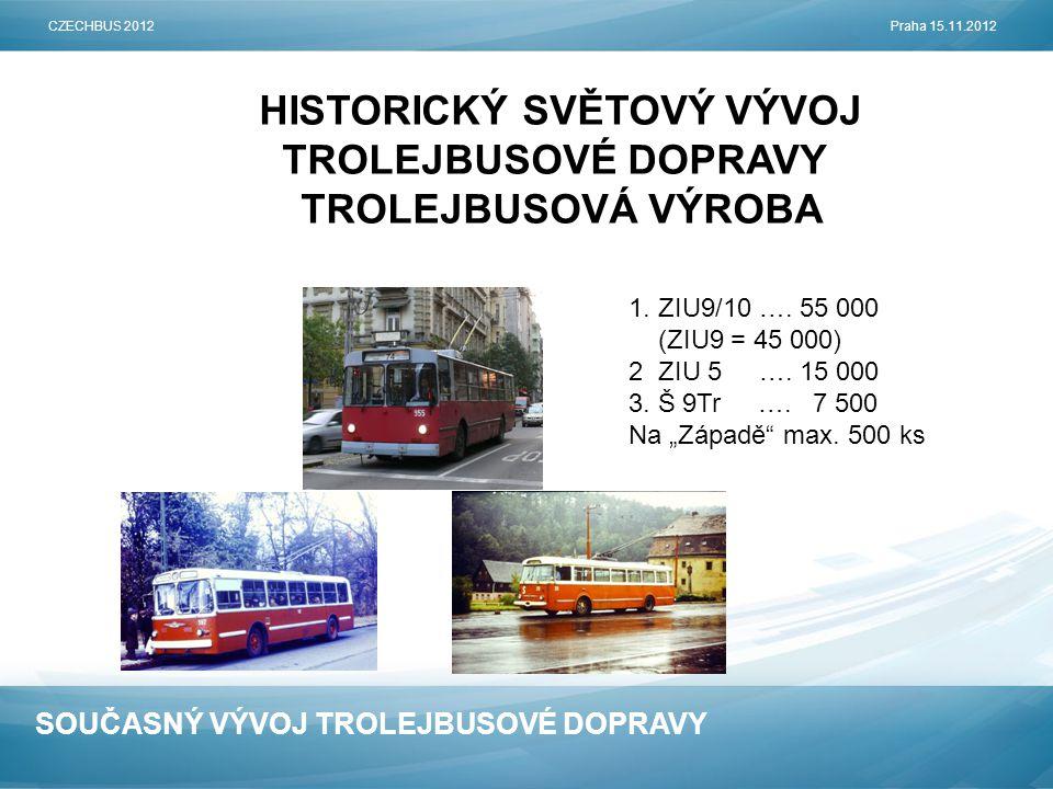 SOUČASNÝ VÝVOJ TROLEJBUSOVÉ DOPRAVY HISTORICKÝ SVĚTOVÝ VÝVOJ TROLEJBUSOVÉ DOPRAVY TROLEJBUSOVÁ VÝROBA CZECHBUS 2012Praha 15.11.2012 1.