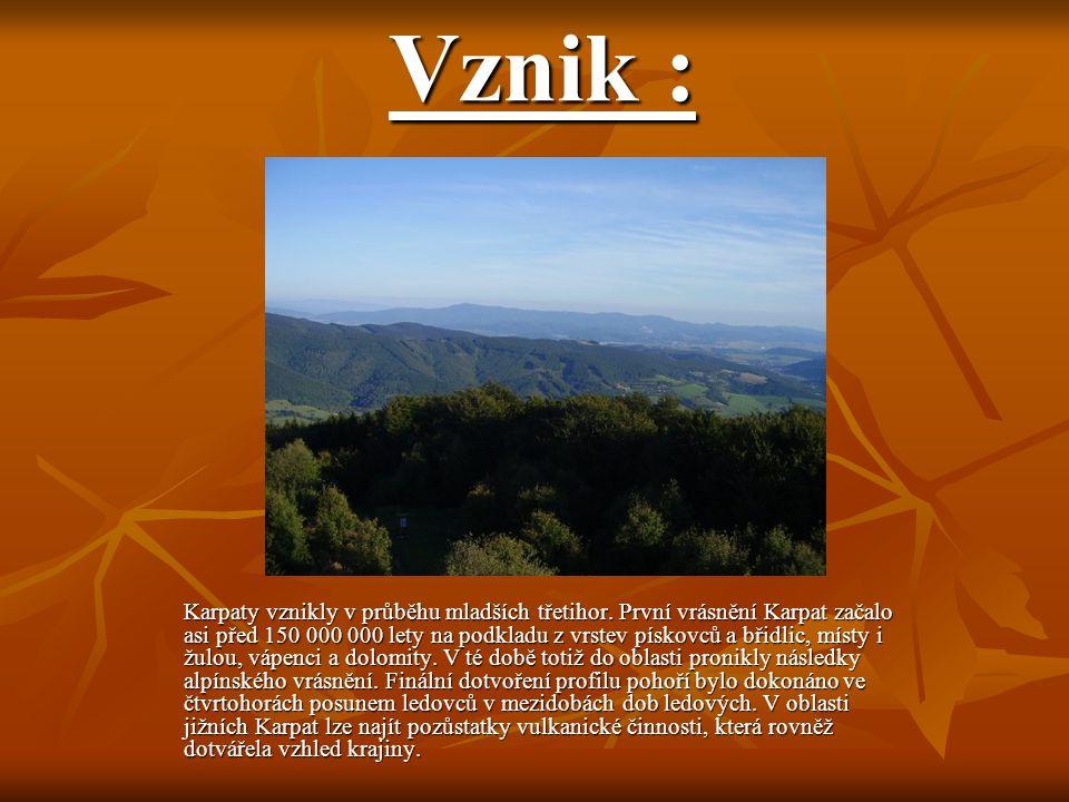 Vznik : Karpaty vznikly v průběhu mladších třetihor. První vrásnění Karpat začalo asi před 150 000 000 lety na podkladu z vrstev pískovců a břidlic, m