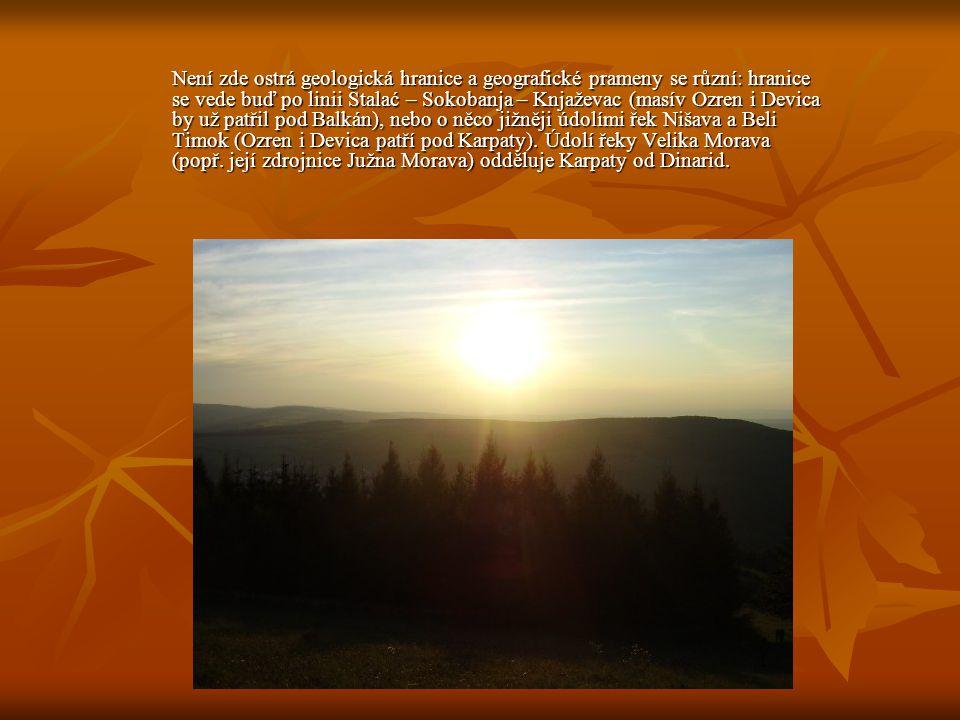 Není zde ostrá geologická hranice a geografické prameny se různí: hranice se vede buď po linii Stalać – Sokobanja – Knjaževac (masív Ozren i Devica by