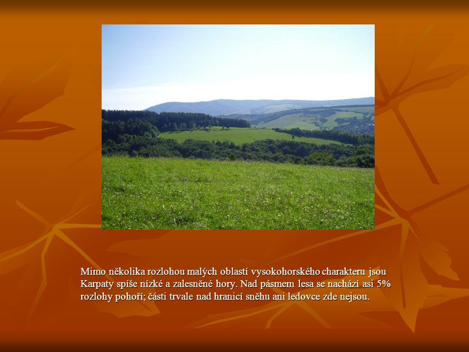 Mimo několika rozlohou malých oblastí vysokohorského charakteru jsou Karpaty spíše nízké a zalesněné hory.