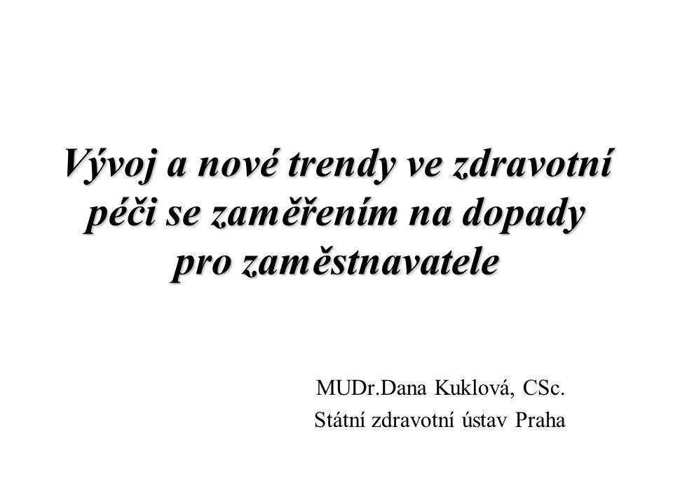 Vývoj a nové trendy ve zdravotní péči se zaměřením na dopady pro zaměstnavatele MUDr.Dana Kuklová, CSc. Státní zdravotní ústav Praha