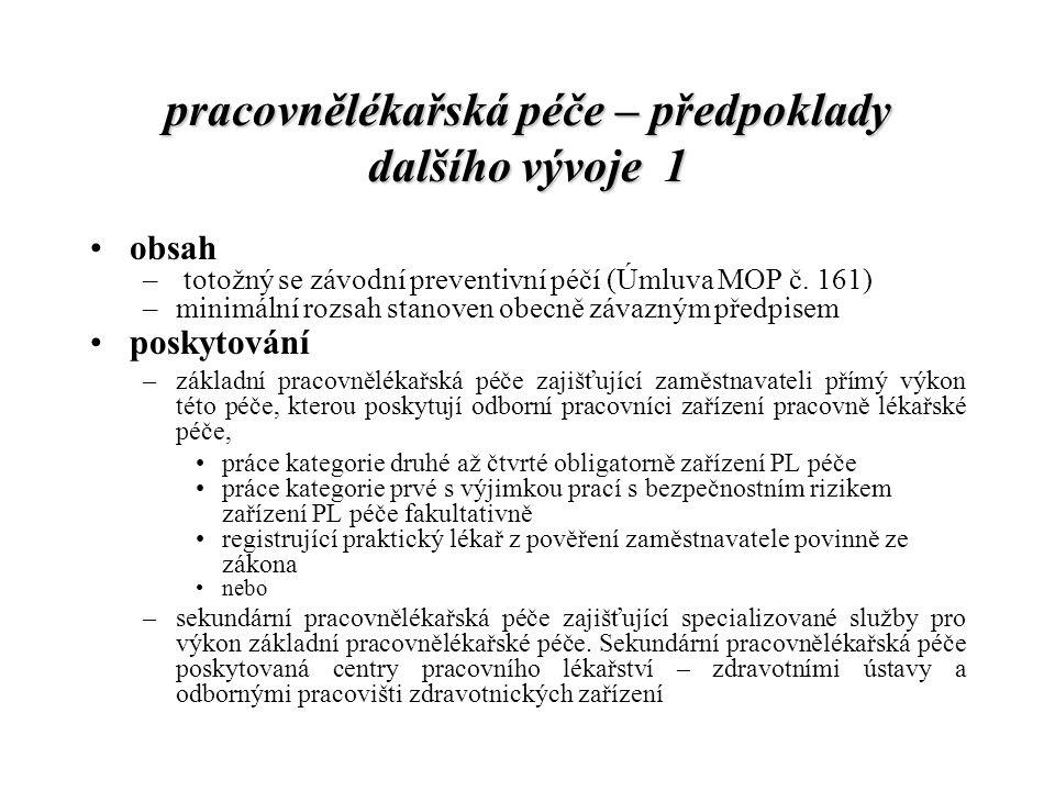 pracovnělékařská péče – předpoklady dalšího vývoje 1 obsah – totožný se závodní preventivní péčí (Úmluva MOP č. 161) –minimální rozsah stanoven obecně