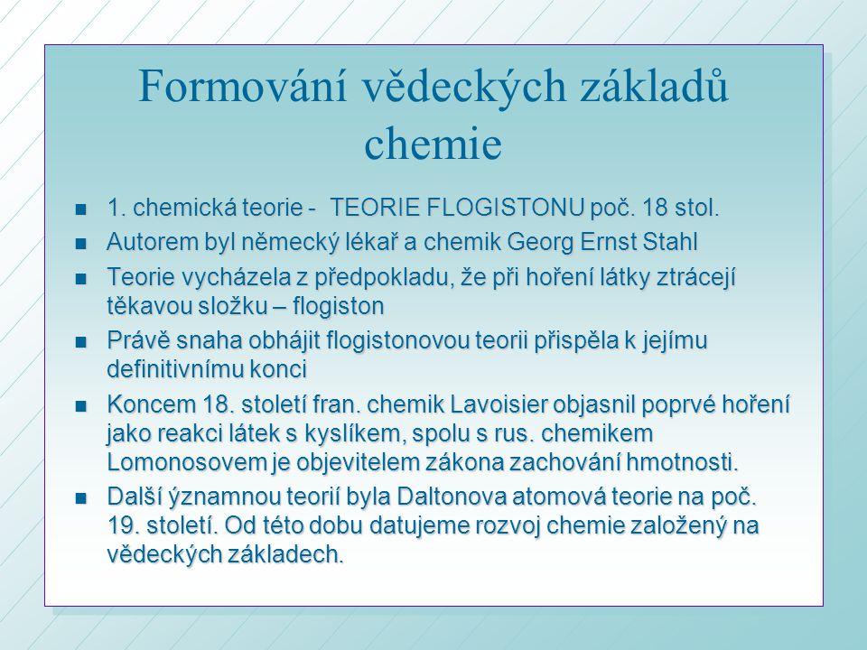 Formování vědeckých základů chemie n 1.chemická teorie - TEORIE FLOGISTONU poč.
