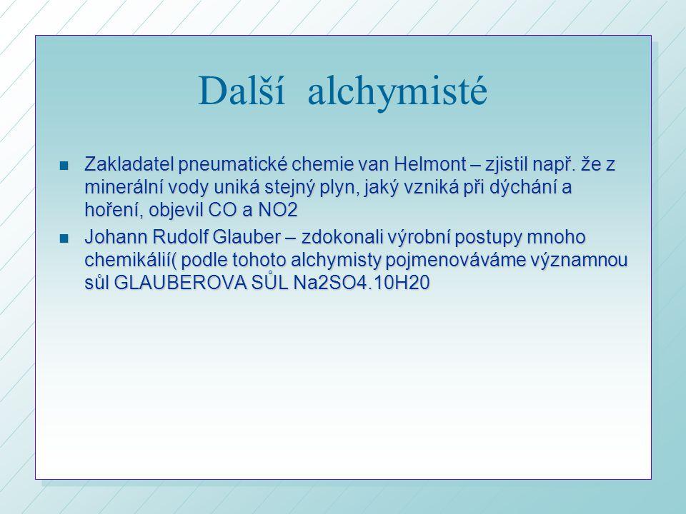 Další alchymisté n Zakladatel pneumatické chemie van Helmont – zjistil např.