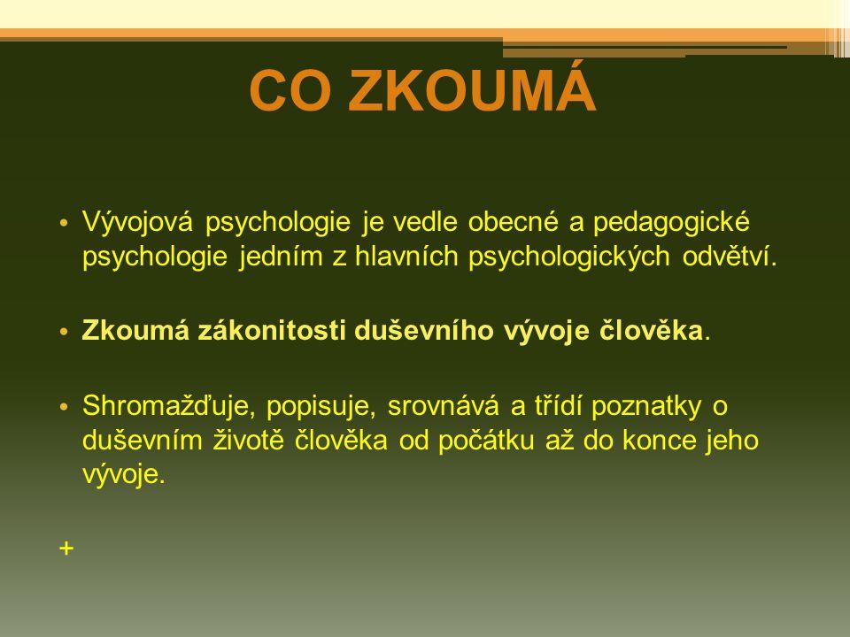 Vývojová psychologie je vedle obecné a pedagogické psychologie jedním z hlavních psychologických odvětví. Zkoumá zákonitosti duševního vývoje člověka.