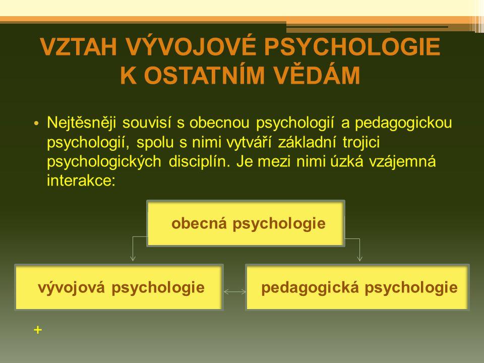 Nejtěsněji souvisí s obecnou psychologií a pedagogickou psychologií, spolu s nimi vytváří základní trojici psychologických disciplín. Je mezi nimi úzk