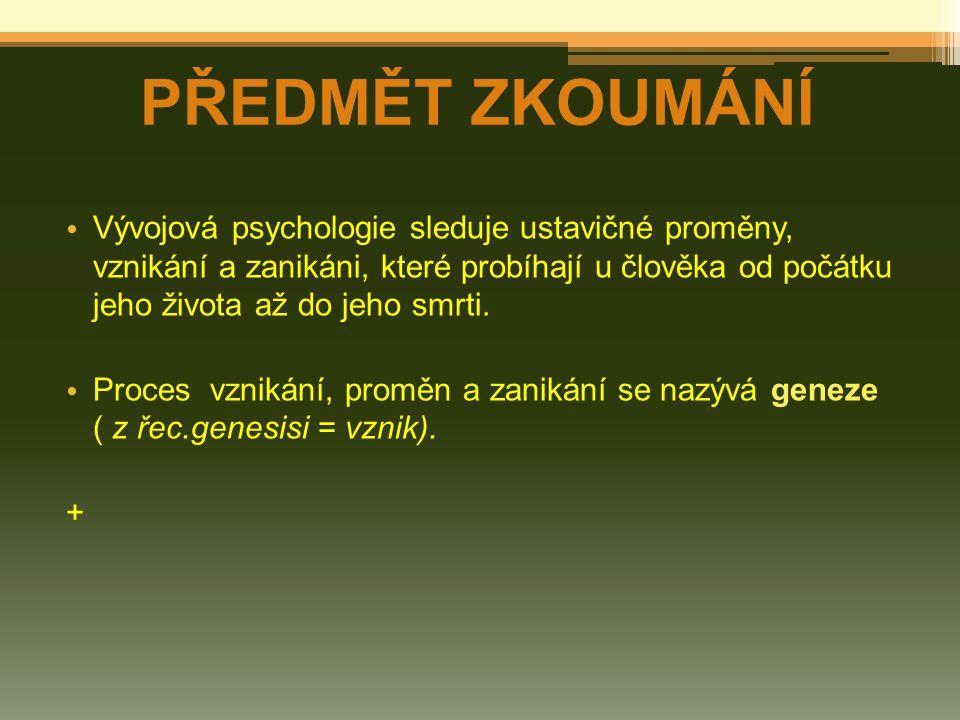 Vývojová psychologie sleduje ustavičné proměny, vznikání a zanikáni, které probíhají u člověka od počátku jeho života až do jeho smrti. Proces vznikán