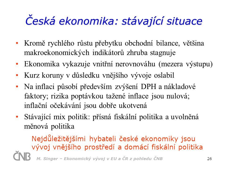 M. Singer – Ekonomický vývoj v EU a ČR z pohledu ČNB 26 Česká ekonomika: stávající situace Kromě rychlého růstu přebytku obchodní bilance, většina mak