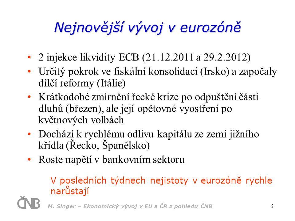 M. Singer – Ekonomický vývoj v EU a ČR z pohledu ČNB 6 Nejnovější vývoj v eurozóně 2 injekce likvidity ECB (21.12.2011 a 29.2.2012) Určitý pokrok ve f