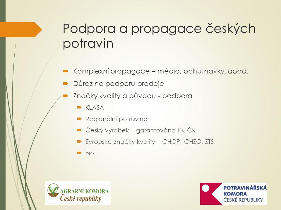 Podpora a propagace českých potravin  Komplexní propagace – média, ochutnávky, apod.