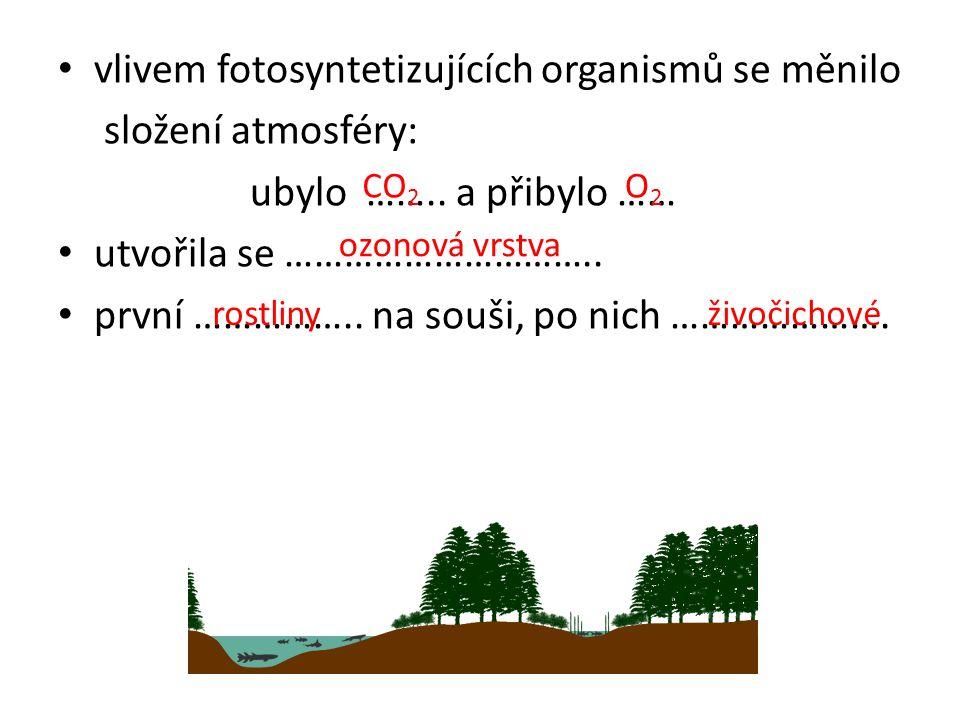 vlivem fotosyntetizujících organismů se měnilo složení atmosféry: ubylo ……..