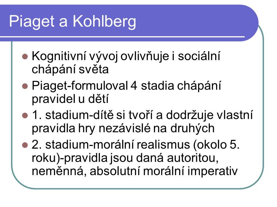 Piaget a Kohlberg Kognitivní vývoj ovlivňuje i sociální chápání světa Piaget-formuloval 4 stadia chápání pravidel u dětí 1.