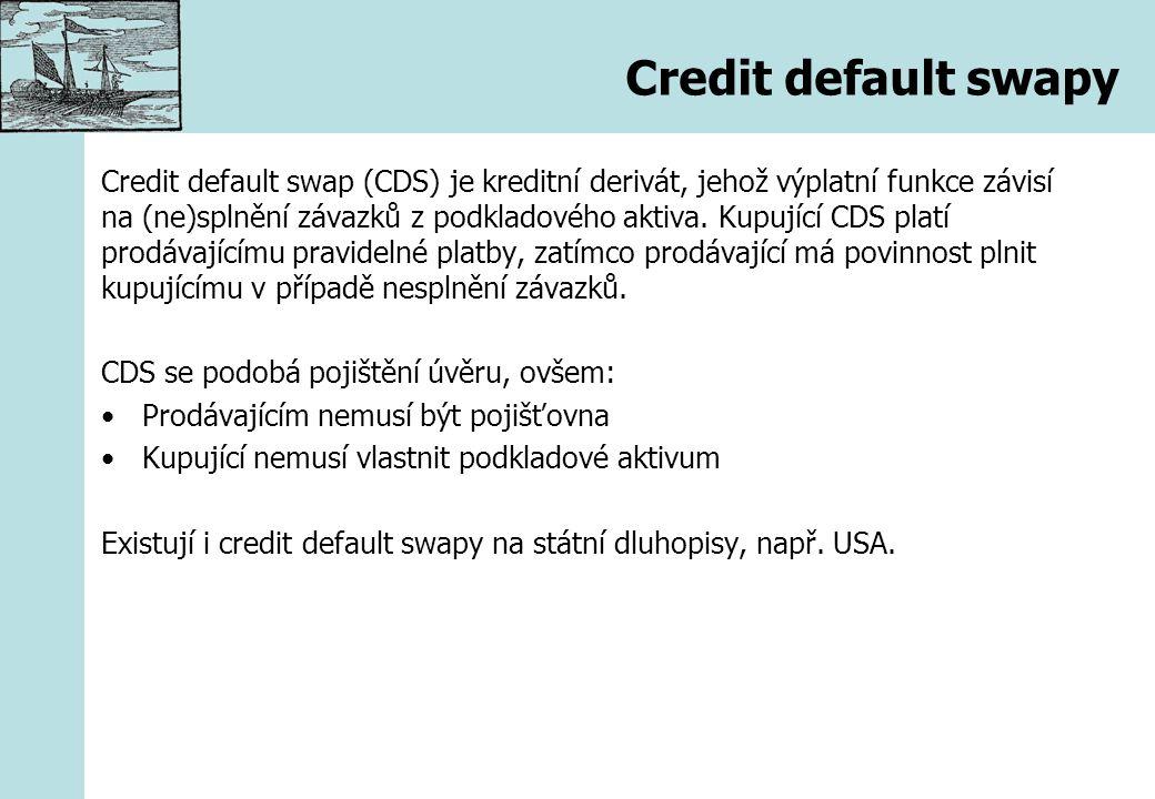 Credit default swapy Credit default swap (CDS) je kreditní derivát, jehož výplatní funkce závisí na (ne)splnění závazků z podkladového aktiva. Kupujíc