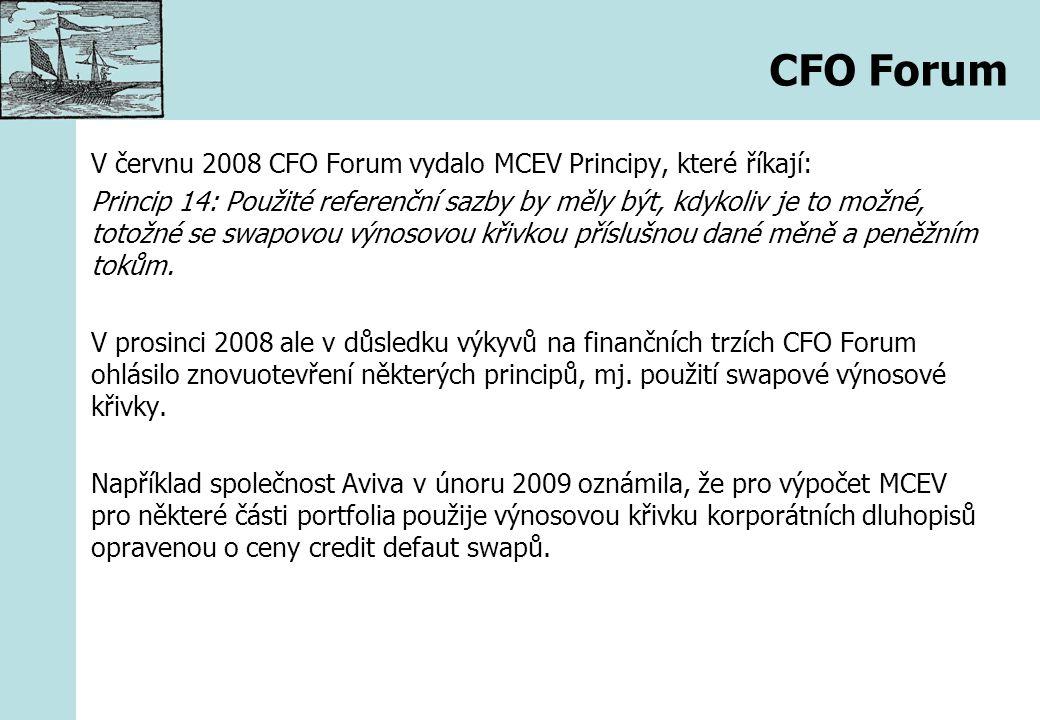 CFO Forum V červnu 2008 CFO Forum vydalo MCEV Principy, které říkají: Princip 14: Použité referenční sazby by měly být, kdykoliv je to možné, totožné