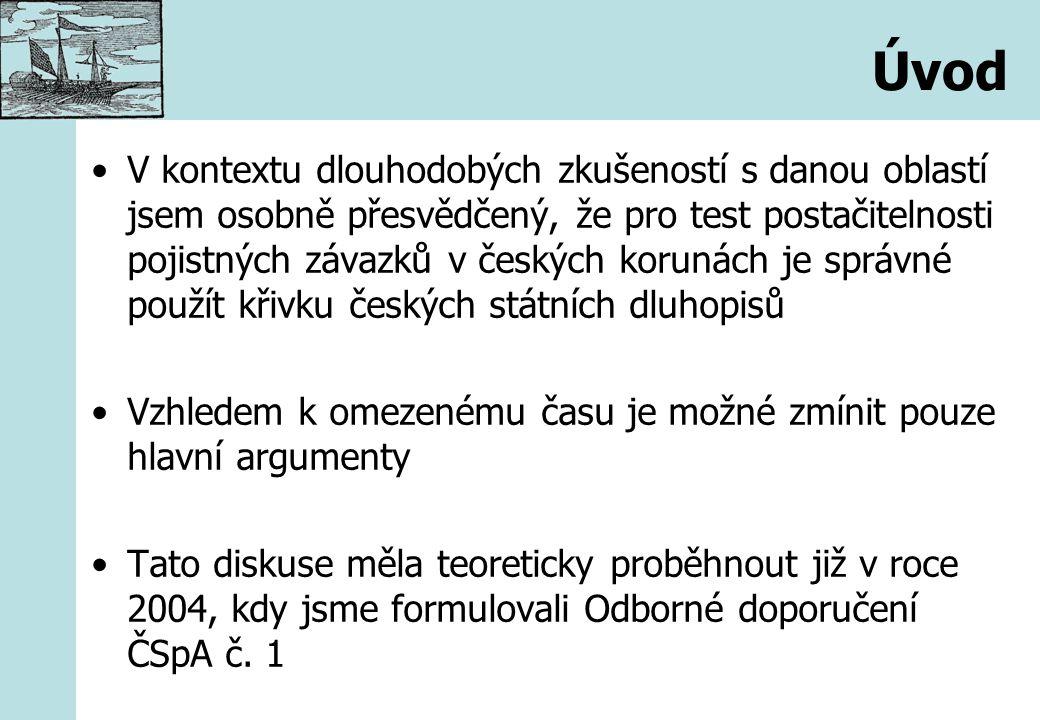 Úvod V kontextu dlouhodobých zkušeností s danou oblastí jsem osobně přesvědčený, že pro test postačitelnosti pojistných závazků v českých korunách je