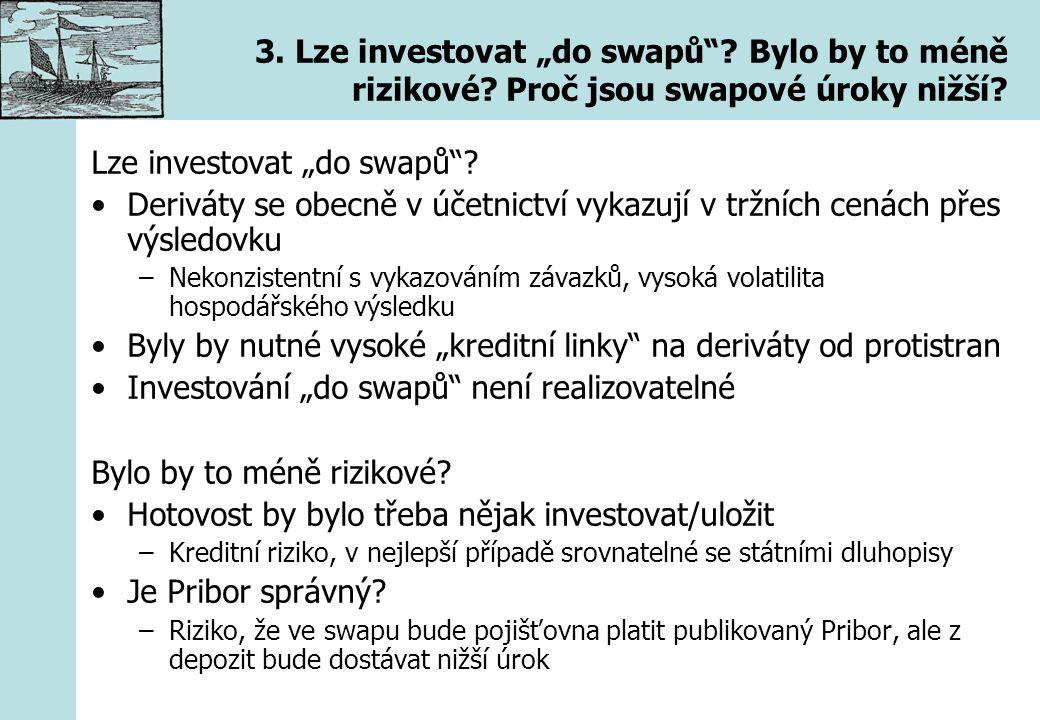 """3. Lze investovat """"do swapů""""? Bylo by to méně rizikové? Proč jsou swapové úroky nižší? Lze investovat """"do swapů""""? Deriváty se obecně v účetnictví vyka"""