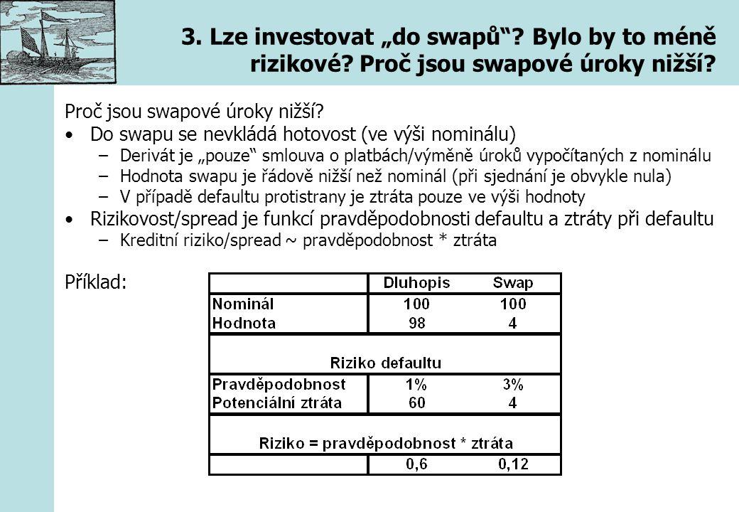 """3. Lze investovat """"do swapů""""? Bylo by to méně rizikové? Proč jsou swapové úroky nižší? Proč jsou swapové úroky nižší? Do swapu se nevkládá hotovost (v"""