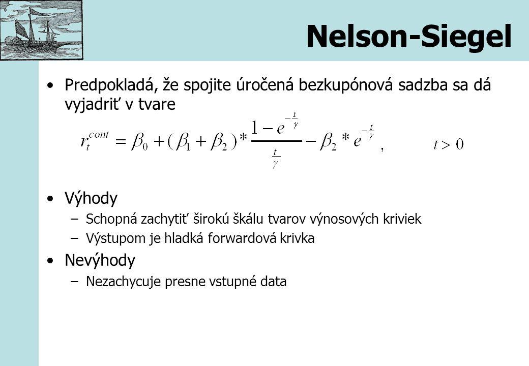Nelson-Siegel Predpokladá, že spojite úročená bezkupónová sadzba sa dá vyjadriť v tvare Výhody –Schopná zachytiť širokú škálu tvarov výnosových krivie