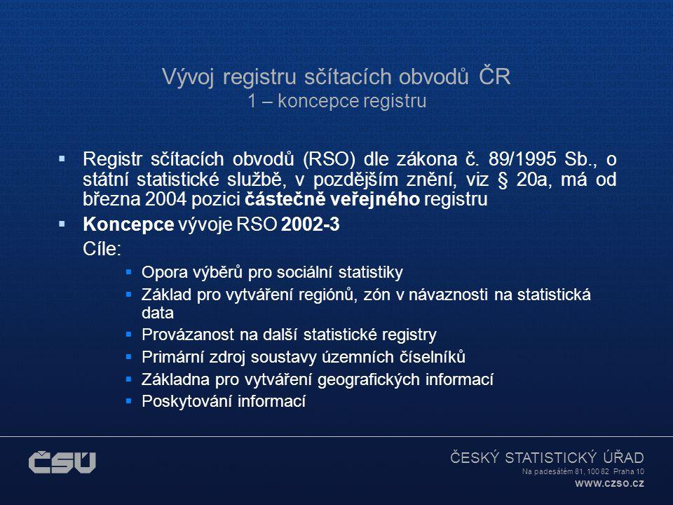 ČESKÝ STATISTICKÝ ÚŘAD Na padesátém 81, 100 82 Praha 10 www.czso.cz Vývoj registru sčítacích obvodů ČR 1 – koncepce registru  Registr sčítacích obvodů (RSO) dle zákona č.