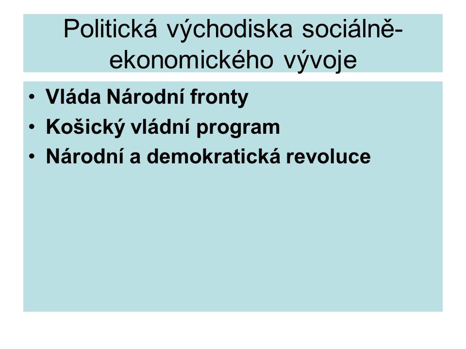 Politická východiska sociálně- ekonomického vývoje Vláda Národní fronty Košický vládní program Národní a demokratická revoluce